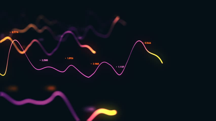 Animation growth of abstract charts with changing values of check points on dark background. Animation of seamless loop.   Shutterstock HD Video #1022110726