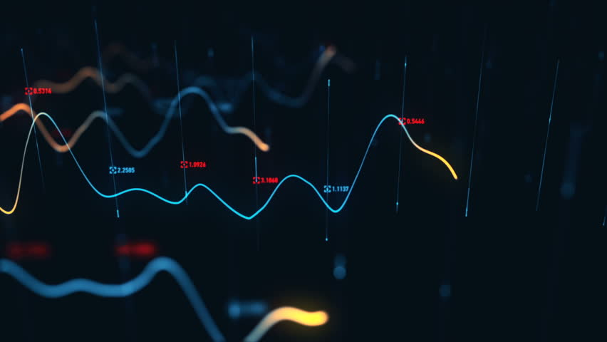 Animation growth of abstract charts with changing values of check points on dark background. Animation of seamless loop.   Shutterstock HD Video #1022111206