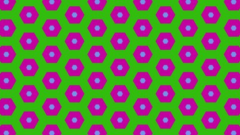 Hypnotic color changing hexagons seamless loop animation background. Illusion background, psychedelic background
