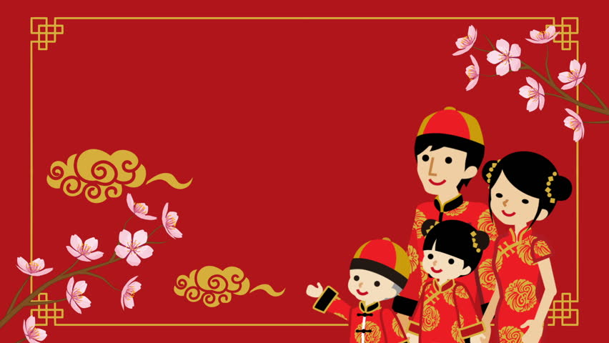 Animation of the Family who wearing Chinese National costume and Decorative motion background - Red color