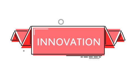 red flat animation banner innovation