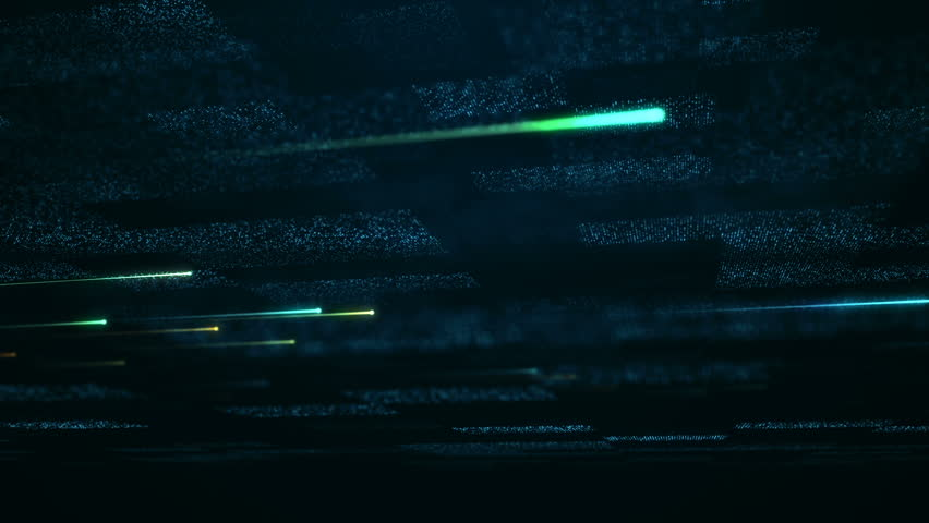 Tecjnological background with flying glowing lines and flickering particles on digital surface from glitering dots. Animation of seamless loop. | Shutterstock HD Video #1022354416