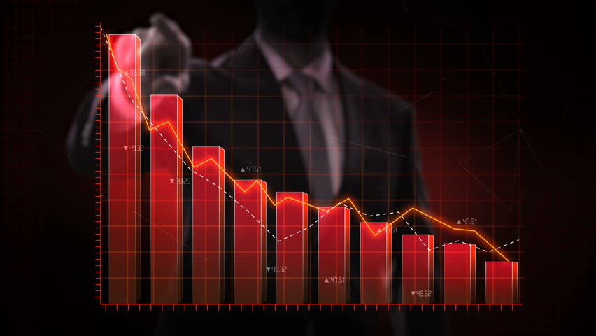 Businessman moves finger up, various animated Stock Market charts and bar graphs. decrease red line. 4k animation.   Shutterstock HD Video #1022355946