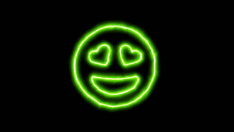 The appearance of the green neon symbol grin hearts. Flicker, In - Out. Alpha channel Premultiplied - Matted with color black