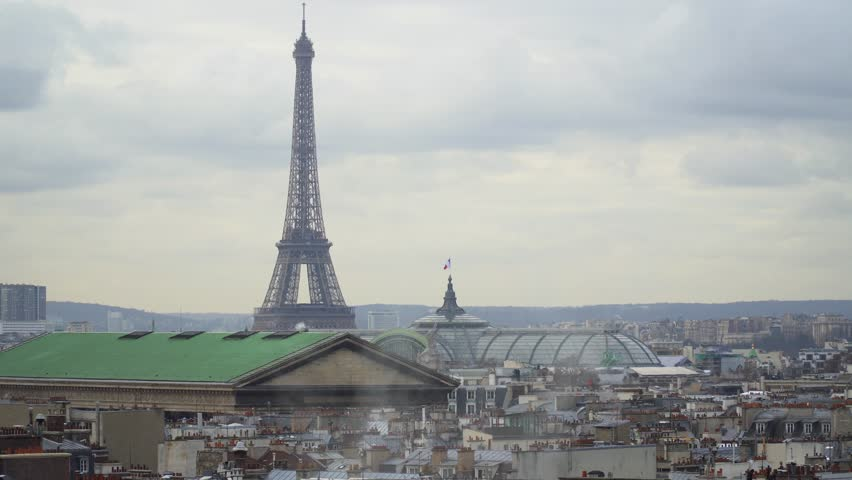 View of the Eiffel Tower from the Gallery Lafayette, Paris | Shutterstock HD Video #1022383036
