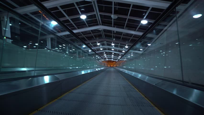Airport Business Treadmill, Walkway, escalator, conveyor belt. | Shutterstock HD Video #1022385196
