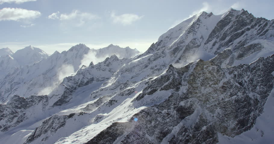 Mount Everest and himalayas Wide shot POV View of cold snowcapped rocky mountains in Nepal and Tibet