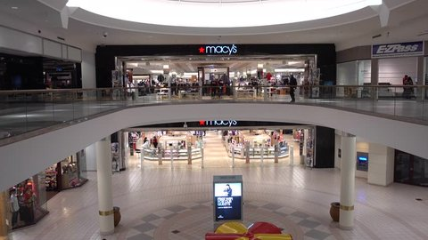 Macy's retail two level storefront shopping mall entrance, Saugus Massachusetts USA, January 22, 2018