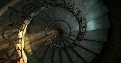 Round spiral staircase, looping animation