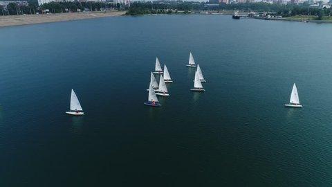 sailing regatta. Sail. Yachts. Little yachts. Children. Irkutsk. Baikal. Shooting from the drone