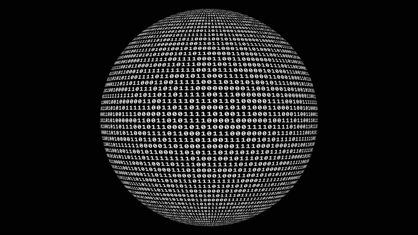Loopable: Sharp white binary digital code on spherical surface abstract background with randomly changing zeros and ones isolated on black. | Shutterstock HD Video #1022512816
