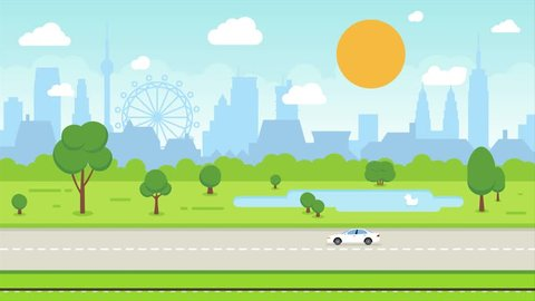 Animation of Abstract City Skyline and Transport: Cars, Train, Airplane. Background Seamless Loop Full HD and 4K - Cartoon