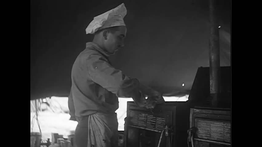 CIRCA 1940s - French Chef cooking for the French Air Force during World War II | Shutterstock HD Video #1022574016