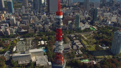 Tokyo, Japan circa-2018. Aerial view of Tokyo Tower and Zojoji Temple. Shot from helicopter with RED camera.