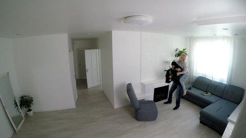 Camera Records A Home Burglary. Burglar Into a house filmed on home security camera