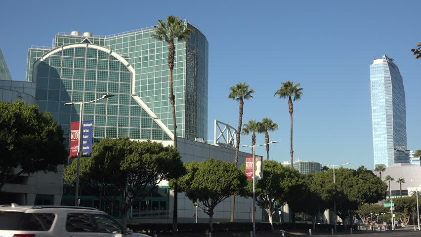 LOS ANGELES, CA/USA - JANUARY 9, 2019: The Los Angeles Convention Center along Figueroa St.   Shutterstock HD Video #1022630296