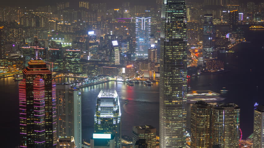 Hong Kong skyline urban panorama at night time lapse China. zoom out | Shutterstock HD Video #1022631346