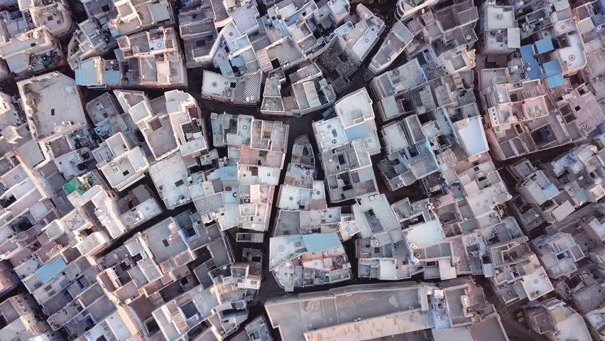 Aerial view 4k video by drone of Blue City village In Jodhpur, Rajasthan, India on sunrise.