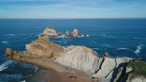 aerial view of amazing rock formations on the Arnia beach, Costa Quebrada, Cantabria, Northern Spain