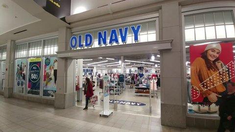Iowa City, Iowa - January 5, 2019, Old Navy Store Front - Interior Shopping Mall
