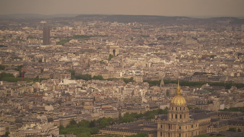 Large view of the city of Paris with The Arch of Triumph and The National Residence of the Invalids | Shutterstock HD Video #1022819686