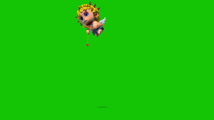 Cupid Happy Valentine's day Arrow Front Green Screen 3D Rendering Animation | Shutterstock HD Video #1022820376