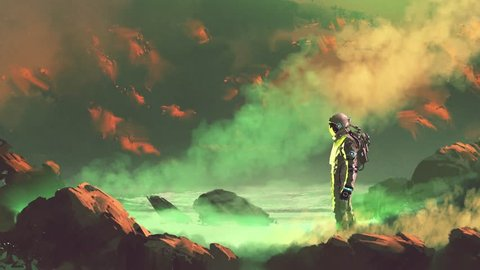 the astronaut standing on glowing swamp, seamless loop animation, digital art sci-fi concept with cinemagraph style