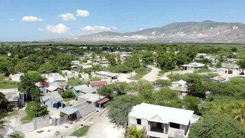 Aerial view of town in Haiti