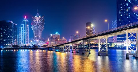 Nam Van Lake Macau- 22 January 2019: Timelapse of Macau city at night