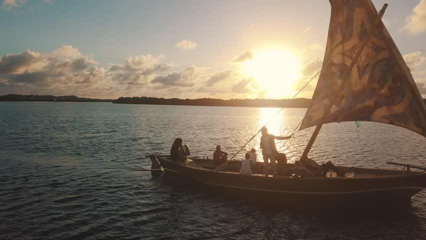 Lamu Island Kenya East Africa Indian Ocean Sunset Dhow Cruise | Shutterstock HD Video #1022899936