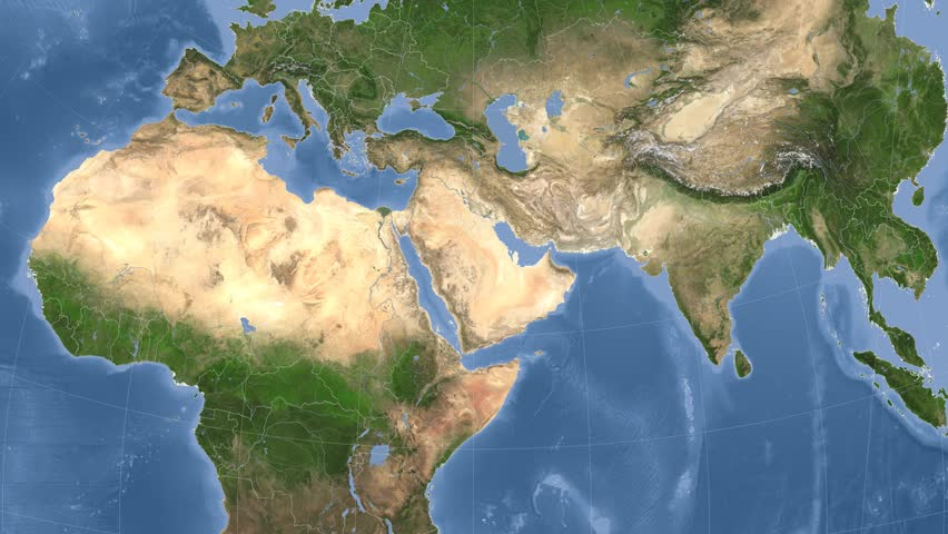 Iran On The Satellite Map Outlined And Glowed Elements Of This - World map satellite view video