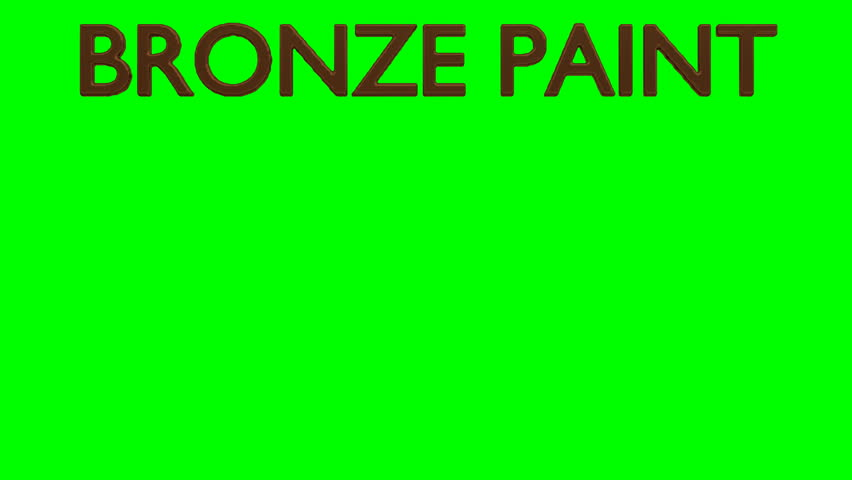Animated dripping a lot bronze paint from all caps text Bronze Paint. Liquid is dripping from three dimensional letters against green background.   Shutterstock HD Video #1022930716