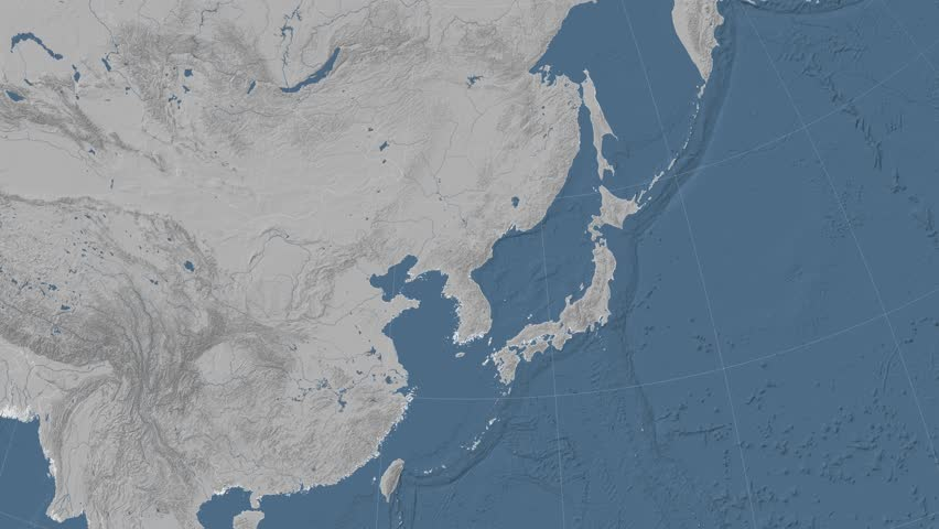 North Korea on the elevation map outlined and… - Royalty