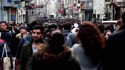 Timelapse crowds street life. Background people Turkey istanbul.