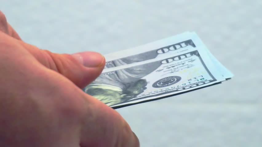 Paper hand recount hundred-dollar bills.closeup. | Shutterstock HD Video #1023093616