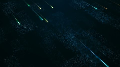 Tecjnological background with flying glowing lines and flickering particles on digital surface from glitering dots. Animation of seamless loop.
