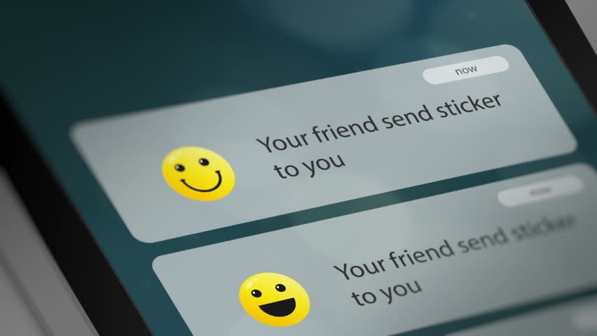 Message App with Sticker/Emoticon Notification on Smart Phone Device. Seamless Loop.  | Shutterstock HD Video #1023247006