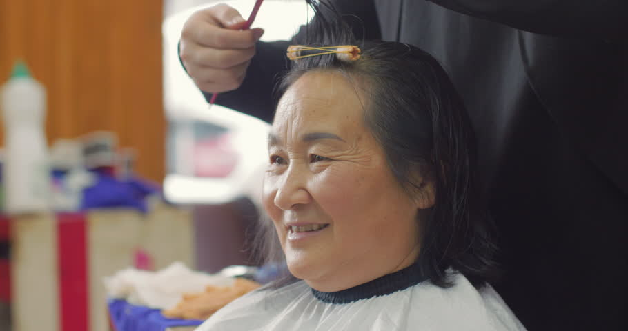 Senior Asian Woman In Hair Stock Footage Video 100 Royalty Free 1023258646 Shutterstock