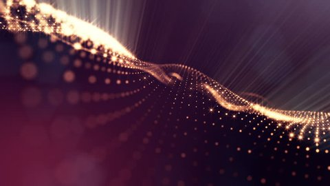 Composition with oscillating luminous particles that form surface. Abstract background of glowing particles with shining bokeh sparkles. Smooth animation looped. Red 10