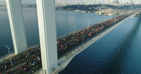 Istanbul Bosphorus Bridge Eurasia Marathon Aerial View 15