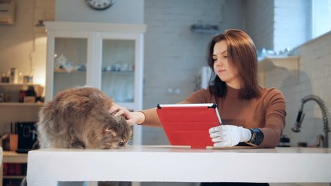 A cat is getting stroked by a lady with a robotic arm