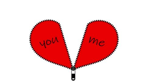 Two red Valentine heart halves zipped together. Text you me.