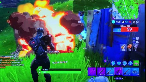Fortnite Video Game Playing Closeup Footage. Playing popular game with big tv screen. 30th January 2019. Finland, Espoo.