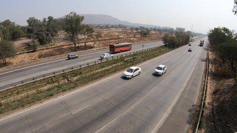 Pune, India - February 02 2019: Time lapse of the Mumbai Pune Expressway near Pune India.