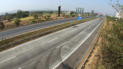 Pune, India - February 02 2019: The Mumbai Pune Expressway near Pune India.