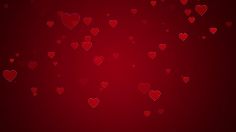 Hearts background, Valentine Day falling red heart on red background. Saint Valentines greeting card motion design.