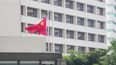 Chinese Flag Blowing In Wind