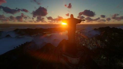 Rio de Janeiro / Brasil - 02.10.2019: Christ the Redeemer at sunset, camera panning, Rio de Janeiro, Brazil, 4K