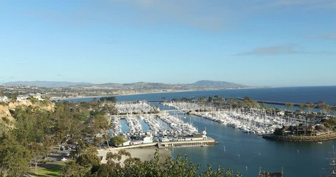 Dana Point, CA/USA-01/10/2019: Wide view of the Dana Point Harbor/Marina. One of the busiest Harbor in the Orange County CA.