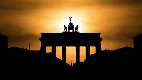 Brandenburg Gate of Berlin, Sunset Timelapse